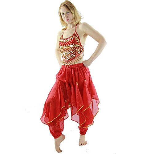 Danzcue Hot Chilli 2-Piece Belly Dance Costume(Belt not included) (Large, Scarlet) (Belly Dance Costumes Large Ladies)