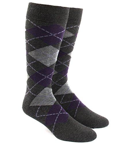 (The Tie Bar Argyle Purples Men's Cotton Blend Dress Socks)
