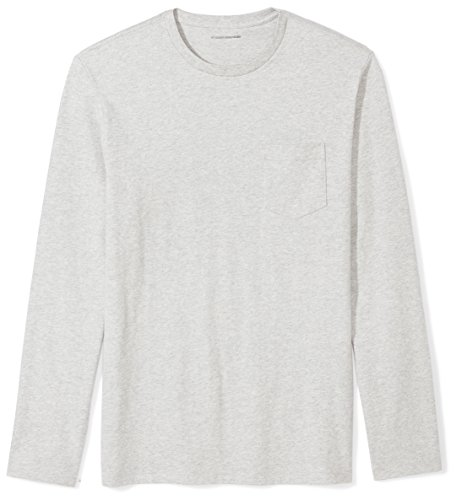 Amazon Essentials Men's Slim-Fit Long-Sleeve Pocket T-Shirt, Light Grey Heather, Small