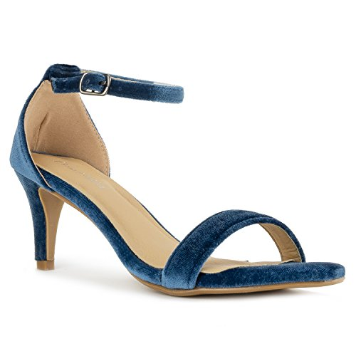 (RF ROOM OF FASHION Fashion D'Orsay Ankle Strap Kitten Heel Dress Sandal - Essential Mid Heel Open Toe Vegan Pumps - ICE BLIE (11))