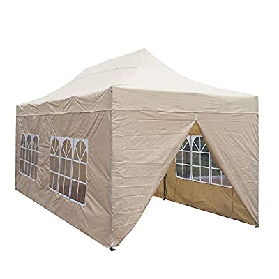 Snail 10x20 ft Pop up Canopy Tent Carport, Heavy Duty Waterproof Outdoor Party Beige Tent with Removable Walls and Wheeled Bag