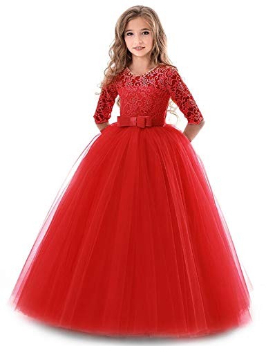 TTYAOVO Girls Embroidered Prom Gowns Luxury Wedding Birthday Party Princess Long Dresses Size(150) 10-11 Years Red ()