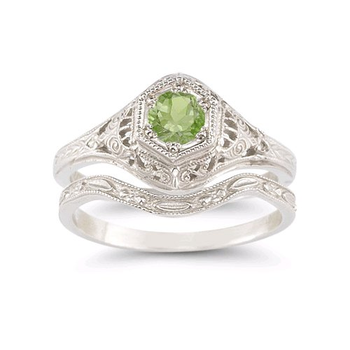 Enchanted Peridot Bridal Set in .925 Sterling (Shape Peridot Wedding Set)