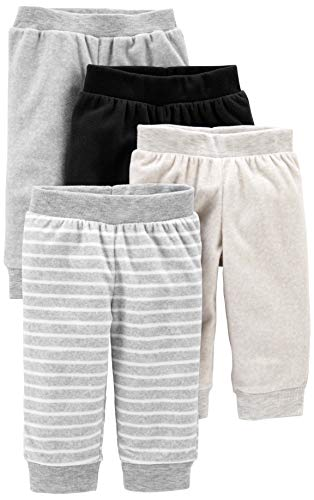 Simple Joys by Carter's Baby 4-Pack Neutral Fleece Pants, Light Grey/Dark Grey/Grey Stripes/Black, 0-3 Months