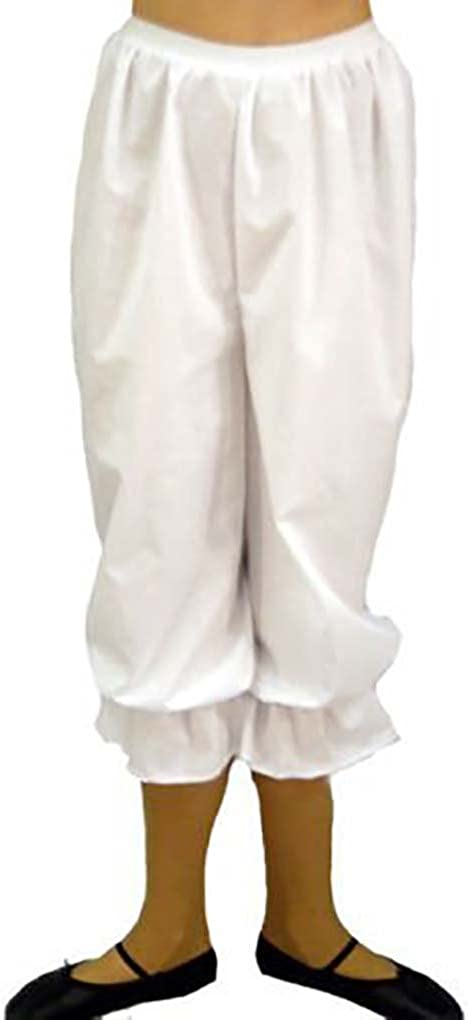 White Steampunk Victorian Long 3//4 Bloomers Pants Shorts Fancy Dress Halloween