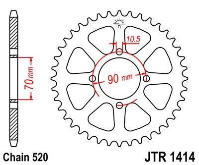 /04 JT posteriore JTR1414/43/denti Fits Kawasaki KSF250/Mojave 87/