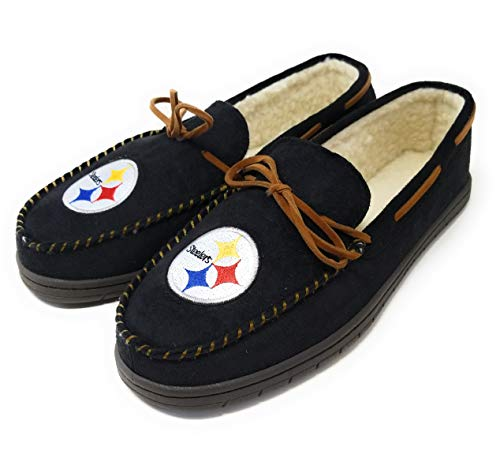 FOCO NFL Pittsburgh Steelers Men's Team Color Big Logo Moccasin Slippers, X-Large/13-14, Team Color
