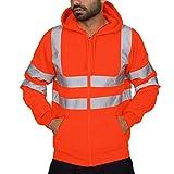 Leewa High Visibility Men's Sweatshirt Hodded from Reflective Work with Zip Sweat-Shirt, Man Jacket