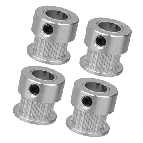 Almencla 4pcs 3D Printer Parts (8mm Bore), Aluminum Extruder Wheel 20 Teeth, Drive Gear for 2GT Timing Belt ()