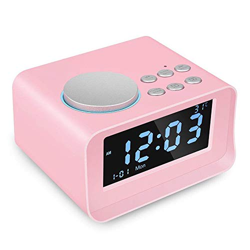 - CYBORIS Digital Alarm Clock Bluetooth Speaker with FM Radio Multi-Function Indoor Thermometer Monitor LCD Display for Student Bedroom (Pink)