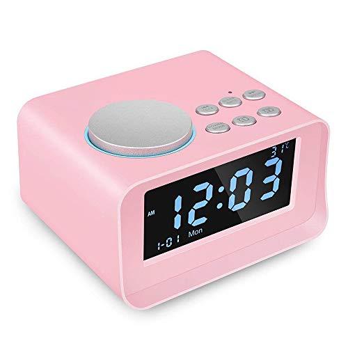 CYBORIS Digital Alarm Clock Bluetooth Speaker with FM Radio Multi-Function Indoor Thermometer Monitor LCD Display for Student Bedroom - Clock Pink Display