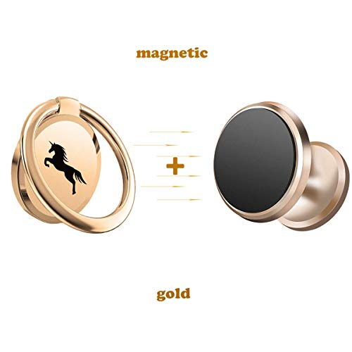 (Phone Ring Holder Finger Ring Stand Latest Model 360°Rotation Metal Ring Grip and Magnetic Car Phone Mount 2 in1set (Gold))