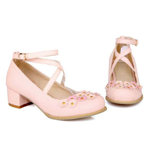 Charm Foot Fashion Applique Mujeres Mid Heel Bombas Zapatos Pink