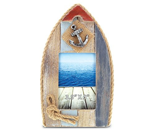 CoTa Global Neptune Sail Boat Picture Photo Frame Unique Miniature Sailing Ship Photo Frames in Distressed Multicolored Woods and Nautical Embellishments 3.5 x 5 Inch Rustic Ocean Wall Decor