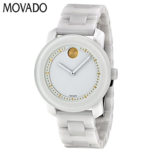 Movado Unisex Swiss Bold White Ceramic Link Bracelet Watch 36mm 3600186