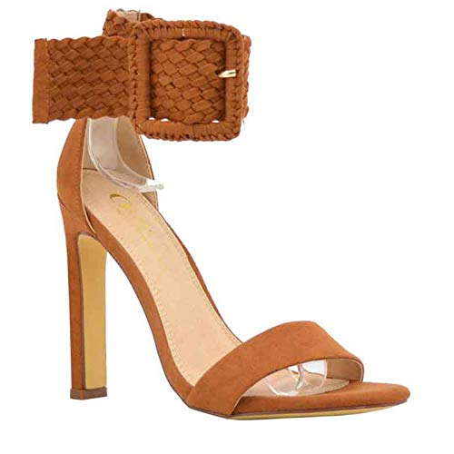 Women's Open Toe One Band Braided Woven Strappy Buckle Ankle Cuff Heel Sandal Shoes (8, Tan) (Ankle Cuff Sandal)
