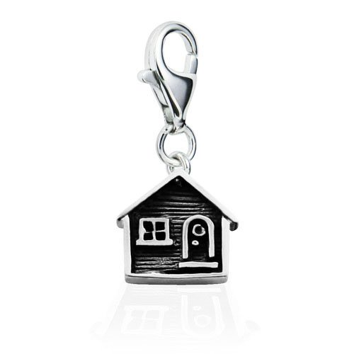 Sterling Silver Adorable Home Sweet Home House Hut with Lobster Clasp Charm for Charm Bracelet