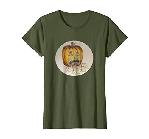 Womens Funny Puking Pumpkin Jack O Lantern Halloween T-Shirt Large Olive -