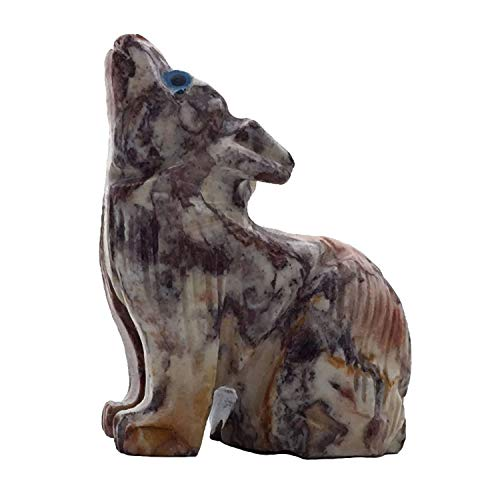 Nelson Creations, LLC Wolf Sitting Natural Soapstone Hand-Carved Animal Charm Totem Stone Carving Figurine, 2 Inch ()