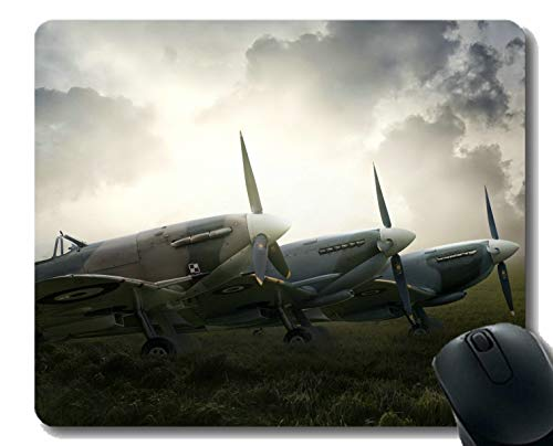 Mouse Pad with Stitched Edge,Arplane fire Breathing Fighter Aircraft Mouse Mat,Non-Slip Rubber Base Mousepad