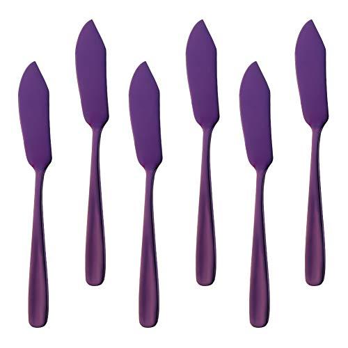 Bisda Stainless Steel Cheese Desert Knives, Set of 6, Breakfast Butter Knife, Slicer Sandwich Spreader(Purple)