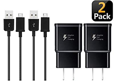 BACE 2 Pack Fast Charging Adapter Wall Charger + 2 Micro USB 2.0 Cables for Samsung Galaxy S7 / S7 Edge / S6 / Note 5