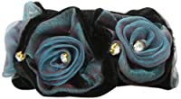Caravan Black Velvet And Voile Fabric Rose Elastic Ponytail Highlighted With 10 Rhinestone Crystals