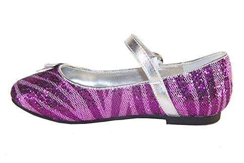 Sparkle Club - Kinder Mädchen Glitter Gelegenheit Ballerina Schuhe - Violett, Synthetisch, 31