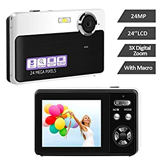 24MP Camera Digital Camera HD Mini Point and Shoot Camera 2.4 Inch TFT LCD Video Camera Vlogging Camera Compact and Portable Selfie Camera