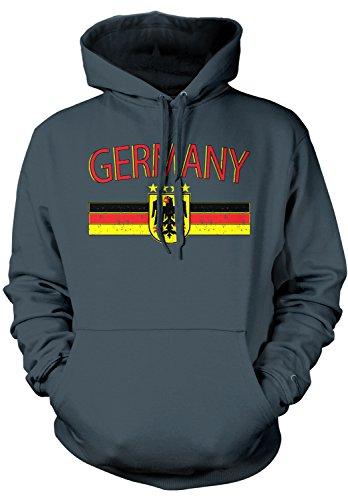 Amdesco Men's Germany Flag and Eagle Crest, German Flag Hooded Sweatshirt, Charcoal Gray Medium