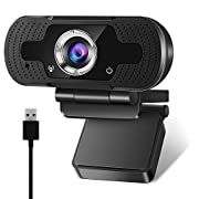 #LightningDeal Webcam with Microphone, Computer PC Laptop Desktop USB Camera 1080P Webcam Adjustable Base, HD Webcam for Conference Video Call faceime YouTube Whatsapp(Plug and Play)