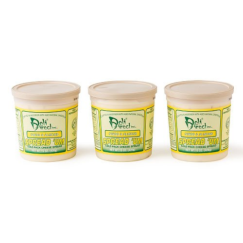 Wisconsin Cheese Spread - Swiss & Almond (3 Pack of 15oz.each Containers) by Deli Direct