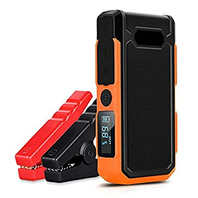 Car Jump Starter 600A 18000Mah Portable Auto Emergency Battery Booster(6.0L Gas Or 4.0L Diesel Engieen) USB Quick Charger Built in LED Flashlight,4 Light Mode,with Jumper Clamps