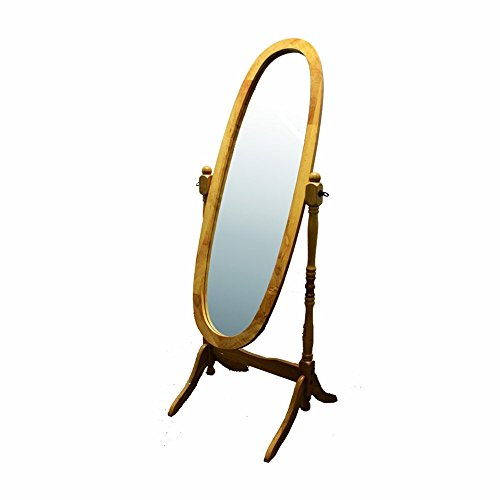 Adjustable Mirror Classic (BeUniqueToday Classic Oval Cheval Floor Mirror with Natural Wood Finish Frame, Quality Construction-Easy to Assemble, Classic Design for Bedroom or Dressing Area, Adjustable and Full Length)