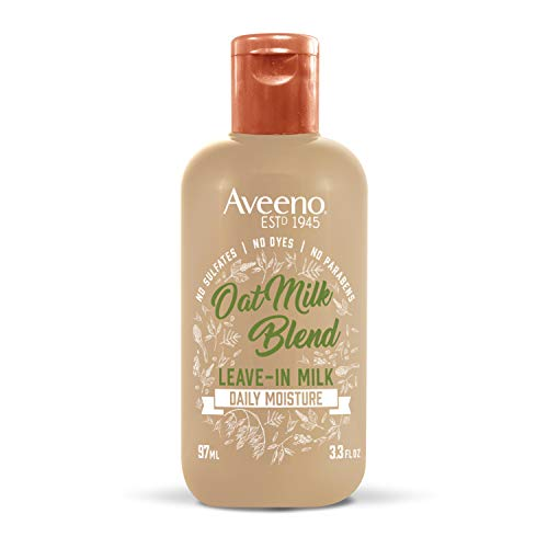 Treatment Milk - Aveeno Hydrating Oat Milk Leave-In Milk Hair Treatment for Dry Frizzy Hair and Lightweight Moisture, Sulfate Free Treatment, No Dyes or Parabens, 3.3 Fl Oz