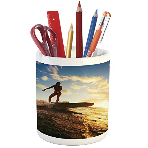 Pencil Pen Holder,Ride The Wave,Printed Ceramic Pencil Pen Holder for Desk Office Accessory,Sunset Surf in The Ocean Young Woman Under Dramatic Sky Exotic Hobby Image Decorative