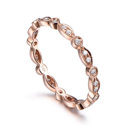 Full Eternity Diamond Wedding Ring,14k rose Gold,Anniversary,Infinity Ring,Art Deco Antique,Matching Band ()