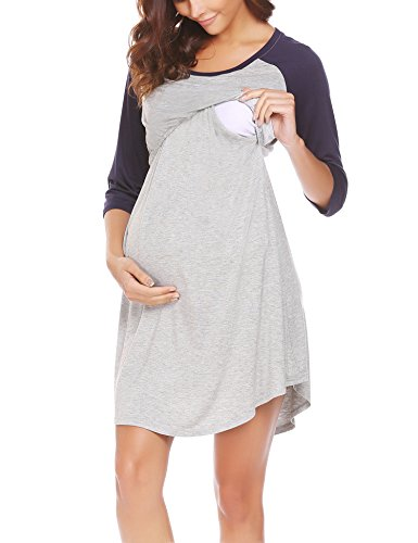 Ekouaer Nursing Nightgown for Women Pregnancy Dress for Breastfeeding(Navy Blue XL) (Bump In The Night Nursing Gown And Robe)