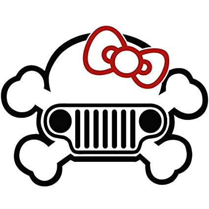a554cf4e8 Image Unavailable. Image not available for. Color: Jeep Skul Hello Kitty Bow  Two Color Vinyl Decal Sticker ...