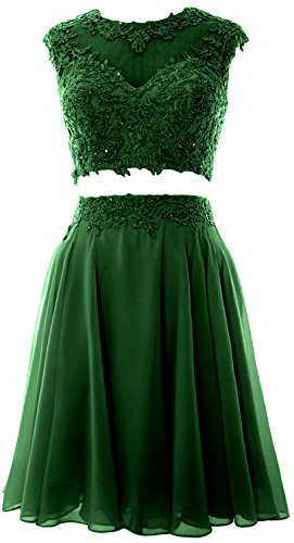 Party Dress Homecoming Vintage Prom Piece MACloth Dunkelgrun Wedding Women Lace 2 Gown 4YgzxFq