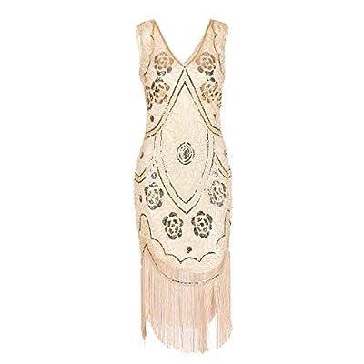 IMAGICSUN Sequin Sleeveless Dress Evening Fringe Dress for Women
