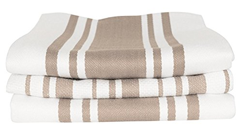 - KAF Home Centerband/Basketweave/Windowpane - Set of 3 Kitchen towel (Taupe)