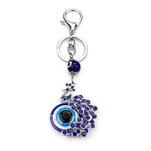 Muzuri Feng Shui Talisman Nazar Peacock Blue Evil Eye Keyring/Keychain Charm Purse Pendant Handbag Bag Decoration for Protection + Free Handmade Luck Red String Bracelet