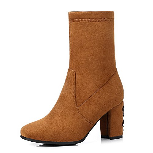 AgooLar Women's Solid Blend Materials High-Heels Pull-On Square-Toe Boots Orange YAi3k