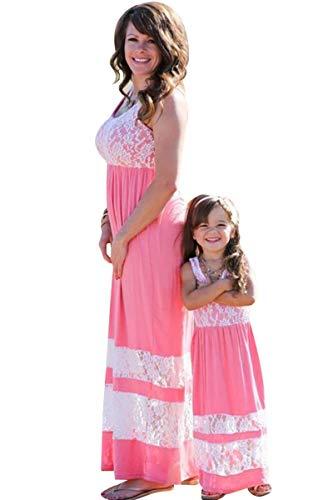 BYM Womens Contrast Sleeveless Empire Chevron Striped Maxi Long Dress Pink+White L (Chevron Dress Pink)