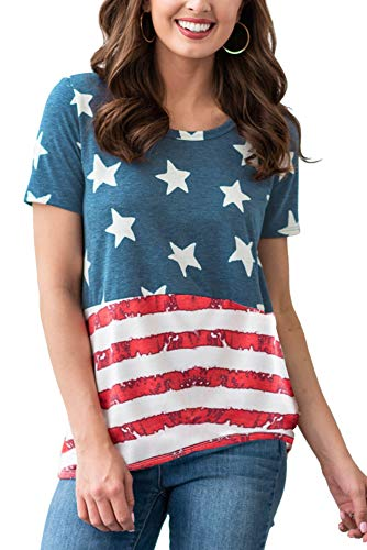 Women's July 4th Loose American Flag T Shirts Short Sleeve Casual Patriotic Tops USA Flag L