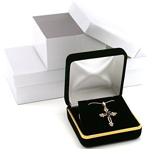 3 Black Velvet Necklace Pendant Gift Boxes With Brass Trim