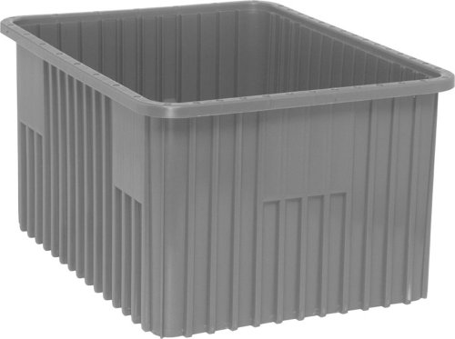 "Quantum Storage DG93120GY Dividable Grid Storage Container, 22-1/2"" L x 17-1/2"" W x 12"" H, Gray (Pack of 3) from Quantum Storage Systems"