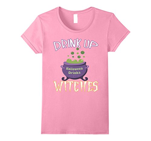 Pink Wig Halloween Costumes Idea (Womens Drink Up Witches T-Shirt Funny Women Halloween Gift Idea Tee XL Pink)