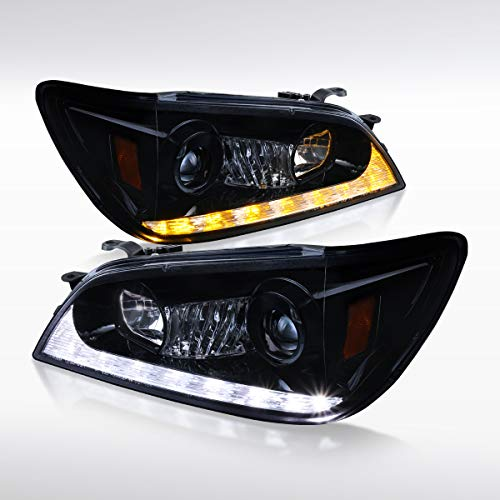 (Autozensation For Lexus IS300 Glossy Black Projector Headlights+LED +Amber LED Signal Lamps Pair )
